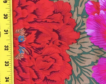 Quilting Cotton Philip Jacobs Brocade Peony Green and Red.  One and 1/2 yd available.
