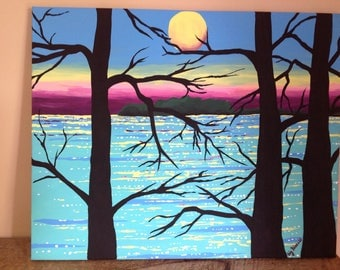 FREE SHIPPING!Original,handpainted,sunset behind trees,painting of sunset,acrylic on canvas.