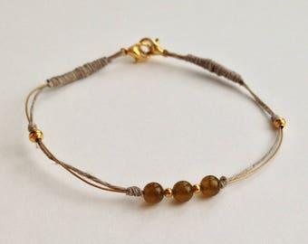 jade made handmade Green Khaki beige linen gold filigree bracelet