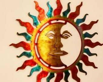 Metal Sun Wall Art Sun And Moon Art  Etsy
