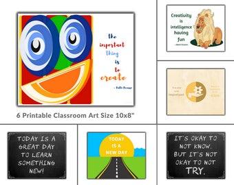 Set of 30 Classroom Art, Growth Mindset Classroom Decor, Classroom Wall Art, Teacher Art Prints, Prints for Teachers, Homeschool Printables