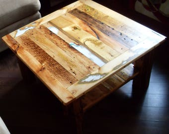 Artisan coffee table, 100% reclaimed wood