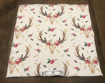 Washcloth - Set of 3 - Floral Antler Print - Cotton Knit and Bamboo Baby Loop Terry
