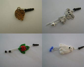 to choose from, plug, dust cover, for cell phone, animals, hedgehog, dog, ladybug, bear