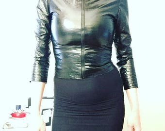 Black Croc Embossed 3/4 Sleeve Stretch Faux Leather Jacket