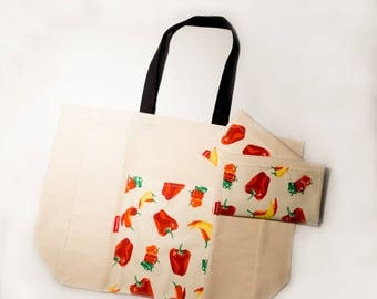 """Zero waste: """"Market bag"""" 100% cotton with large outside pocket, Tote, eco-friendly, market, grocery, rug"""