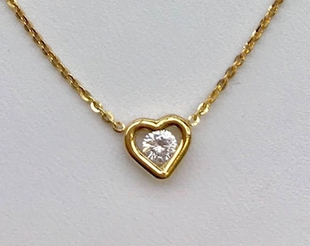 Heart shape diamond solitsire necklace, 1/4 Carat, 18k yellow gold.
