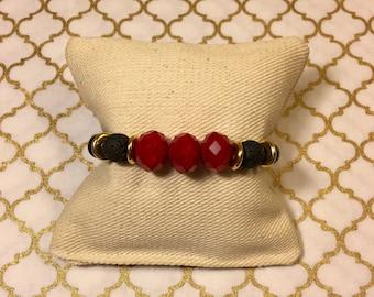 JeNoelle Glass Ruby Stretch Bracelet
