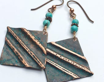 Copper Fold Formed Earrings with Verde Green Patina and Turquoise Beads