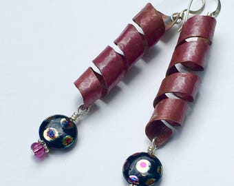 Organic Synclastic Copper Twists with Czech Glass Bead
