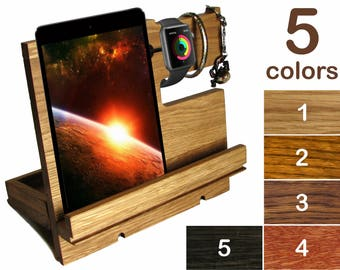 Wooden Desk organizer men Docking station wood men Charging station men iPhone holder wood Phone holder men Phone dock men Phone stand wood