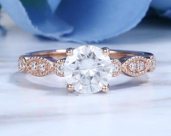 Art deco Moissanite engagement ring set vintage Rose gold Half eternity Diamond wedding women Marquise Delicate milgrain antique Anniversary
