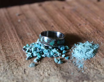 Turquoise Stone and Oxidized Mesquite Ring