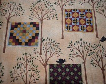 moda fabric, bird in hand, quilting fabric, cotton fabric, bird fabric, tree fabric, sewing fabric