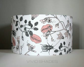 Lampshade Scandi fabric, up to 45cm sizes handmade by vivid shades, insects beetles flowers lips bees, funky retro genuine Scandinavian