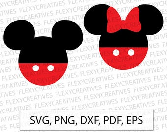 Mickey & Minnie mouse svg Mickey mouse svg Vector, Clipart, Cut File,  Minnie mouse Cricut SVG, png, DXF, pdf, EPS FlexyCreatives  #vc-54