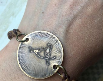 etched brass two little birds bracelet