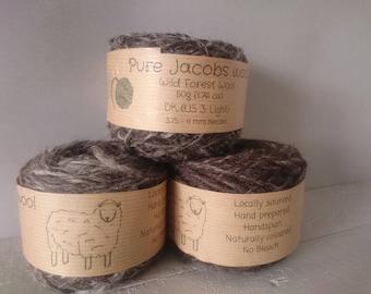Hand spun wool - British Jacobs DK weight wool 50g balls - natural un dyed - no bleach - no chemicals - local farm