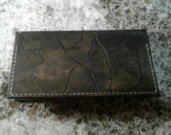 Mens Leather long Wallet, flag stone design black stone washed 10 pockets hand made in the USA