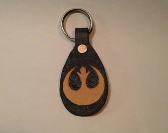 Rebel Alliance leather keychain made in USA, Star Wars fanart