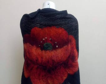 Woman shawl Nunofelted Wrap Accessory  Handmade nuno felting shawl Poppy flowers