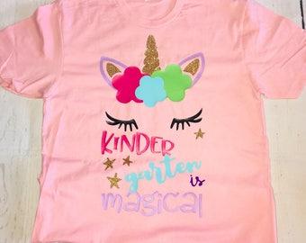 Unicorn face, kindergarten is magical, Teacher shirt
