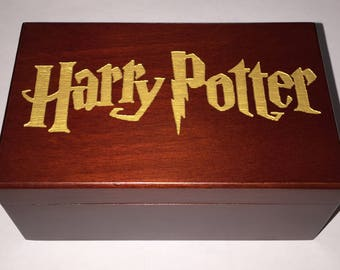 Harry Potter Inspired Wind Up Wooden Jewellery Music Box, Plays Hedwigs Theme, Harry Potter Inspired Gift