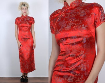 Vintage Cheongsam Maxi Dress // 70s 80s Red Cocktail Dress Chinese Maxi Floral Qipao - Small