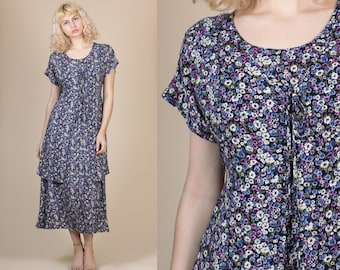 Grunge Floral Dress - Medium // Vintage 80s 90s Short Sleeve Midi