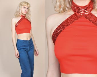 70s Sequin Crop Top - Small/Medium // Vintage Red Halter Cropped Disco Blouse