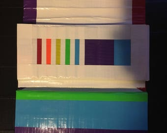 Tri-fold womens duct tape wallet (rainbow theme)