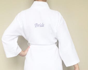 Bridal Party Personalised Waffle Weave Robe (Front and Back)