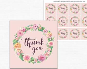 Printable Thank You Tags, favor tags printable, pink floral wreath favor thank you tags, birthday Digital Download, Hang, Tags, Favor, pdf
