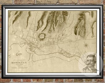 Honolulu, Hawaii Art Print From 1887 - Digitally Restored Old Honolulu, HI Map Poster - Perfect For Fans Of Hawaii History