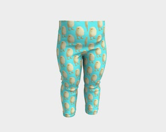 Adorable Baby Leggings - Fluffy Yellow Chicks - Turquoise Background