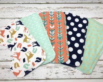 woodland Burp cloth organic Boy Burp cloth woodland baby shower mint burp cloth fox burp cloth Baby boy shower gift arrows burp cloths