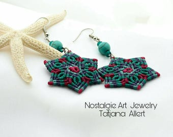 Macrame  earrings,  micro macrame earrings,  Bohemian  earrings,  wrapping earrings,  Mandala earrings,  hippie  earrings,  boho  earrings