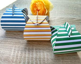 10 pcs boxes, 10 pcs  colorful stripes, striped box, Cupcake Paper Box, Gift Box,Blue Box, 10 pcs boxes