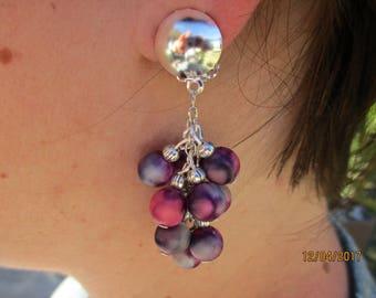 Cluster clip on earrings