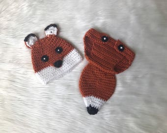 Crochet Hat and Diaper Cover/Fox Hat and Diaper Cover