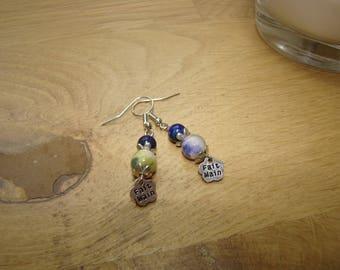 Blue jade and lapis lazuli natural stone earrings