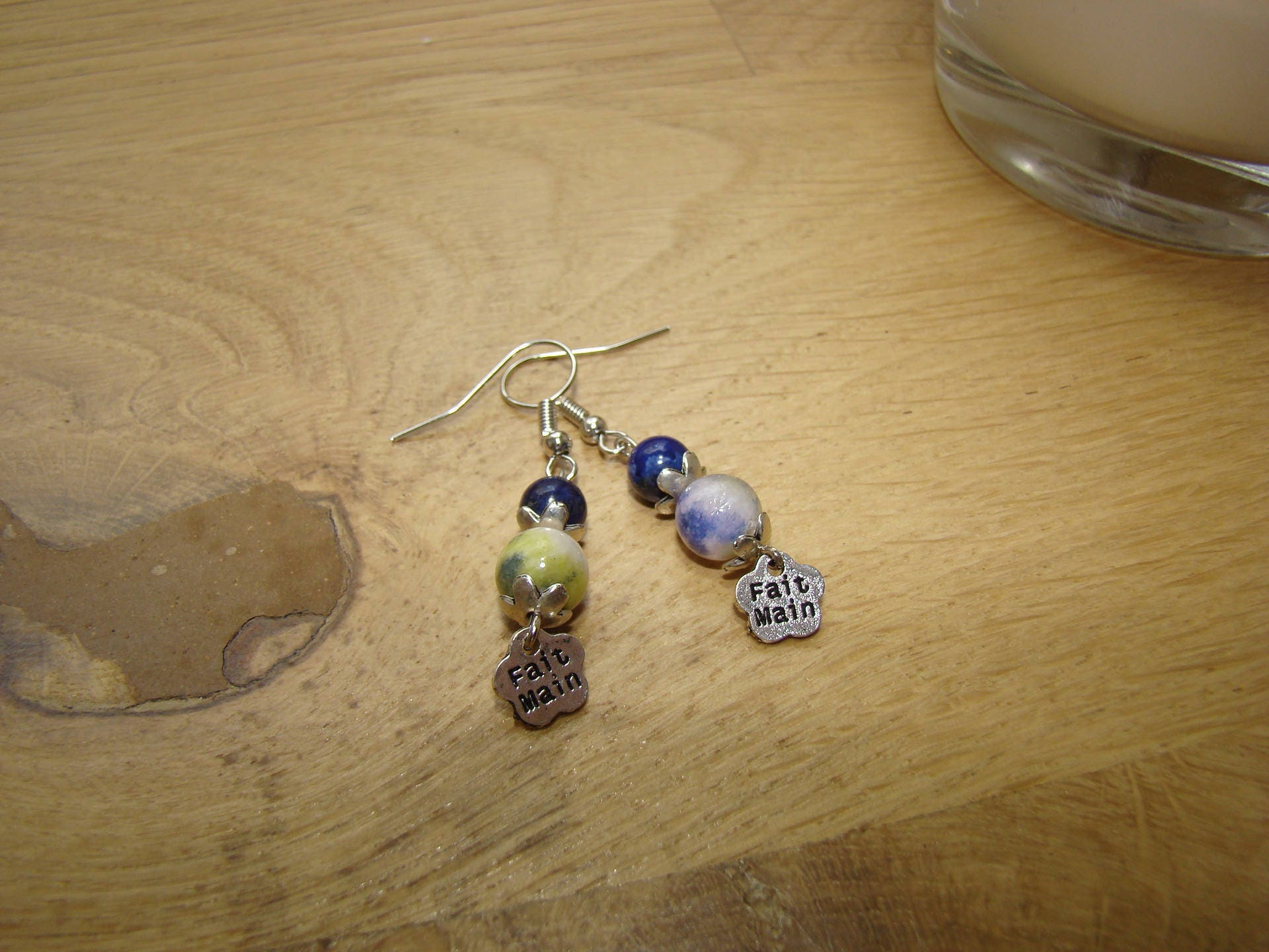 pin blue agate natural light cluster earrings stone