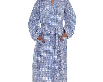 Indian Cotton Block Printed Long Kimono Dressing Gown Bathrobe Sleepwear Beach Dress