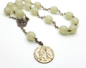 Vintage Chaplet Sainte Anne de Beaupre Charm Short Rosary Glow in the Dark Beads Jesus Metal Antique First communion Prayer