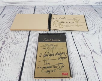 Vintage Set of 2 1995 Levi's Tan Paper Spiral Bound Sketch Books w/ a Few Fillable Pages Sketchbook Collectible Jeans Levis Levi Strauss