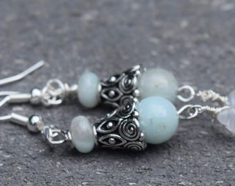 Amazonite and Moonstone Earrings~ Artisan Earrings