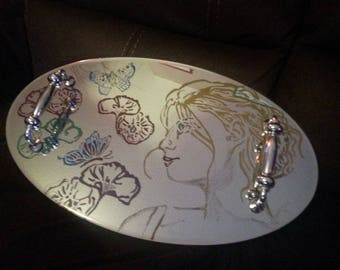 Hand engraved mirror tray