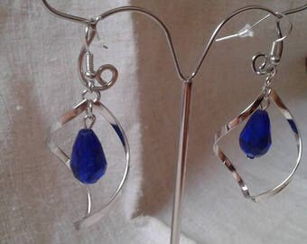 Blue Pearl and spiral earrings