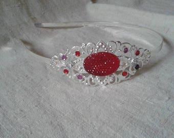 headband large red rhinestones