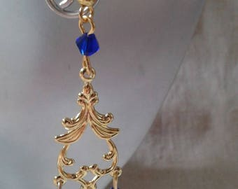 """Earrings """"gold connector and beads"""""""